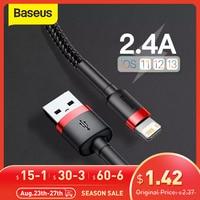 Baseus Cable USB para iPhone 12 11 Pro Max 8 X XR carga rápida para iPhone Cable de sincronización de datos USB cargador de teléfono de Cable