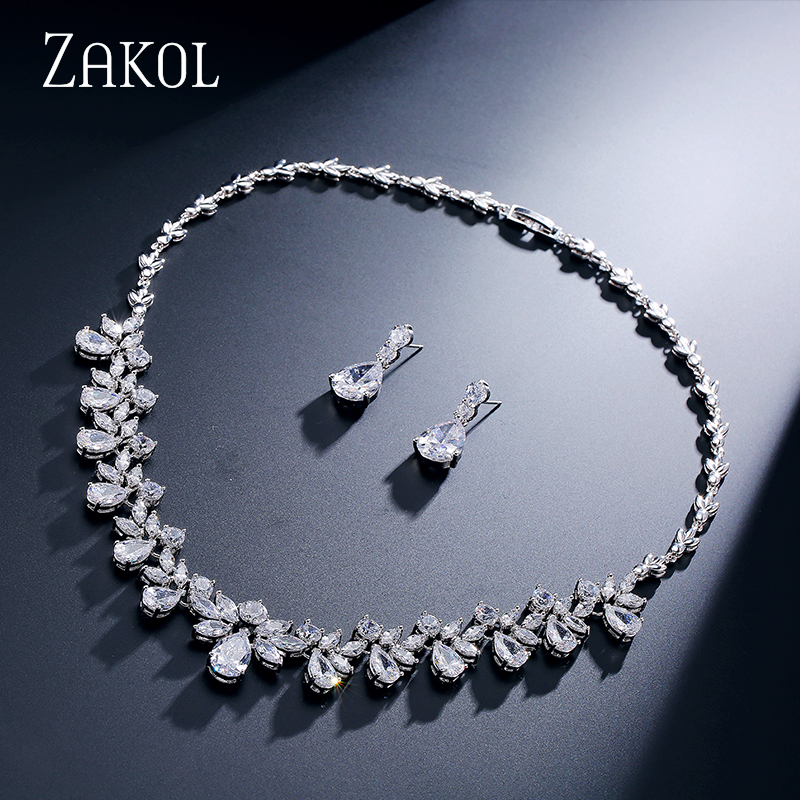 ZAKOL Brand Sparkling Cubic Zirconia Jewelry Sets Fashion Flower Africa Set For Elegant Women Bridal Wedding Party Dress FSSP170