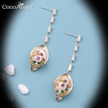 Fashion Korean Nature Fresh Water Pearl Earrings Flora & Shape Zircon Copper Silver Needles Lovely style