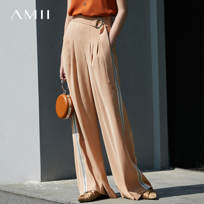 Amii Minimalist Chiffon Wide Leg Pant Summer Women Solid Loose Female Side Stripe Long Pant 11940318