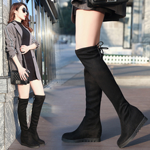 2019 Thigh High Boots Platform Autumn Winter Boots Women Over the Knee Boots Suede Black Long Boots Wedge Fur Plush Shoes Woman stretch autumn winter over the knee boots women black shell head thick bottom flat platform shoes thigh high boots long boots