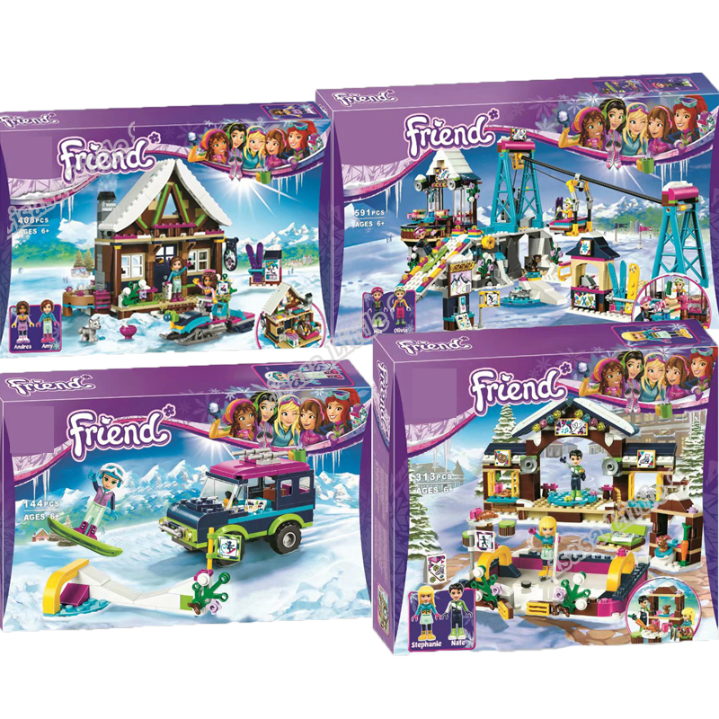 New Girl Friends Ski Winter Holiday Village Legoinglys Christmas Set Building Block Bricks Xmas Gift With 41324 41323 41322