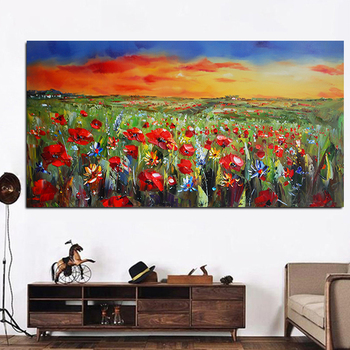 Wild Flowers Poppies Landscape Oil Painting Printed on Canvas 1