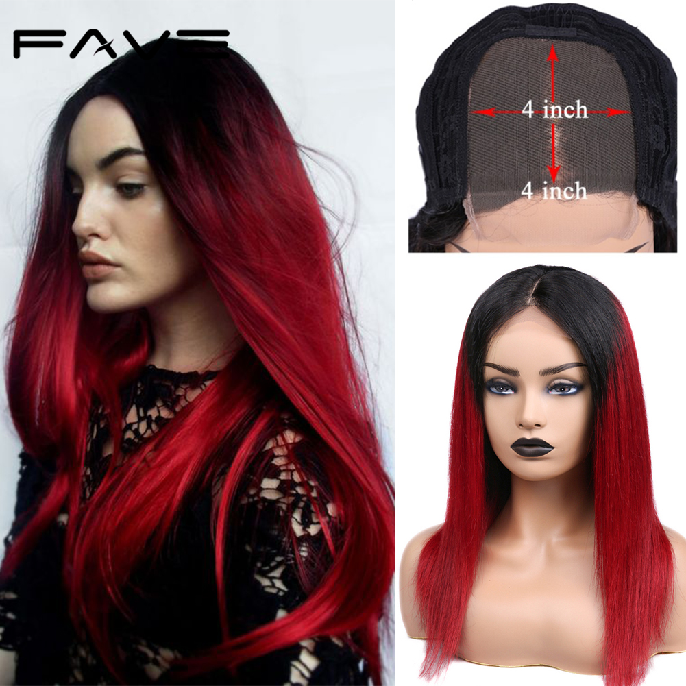 Brazilian 4*4 Lace Closure Ombre Wigs Remy Straight Human Hair Wig Pre Plucked Hairlie1B/Red Lace Wig For Black Women FAVE Hair