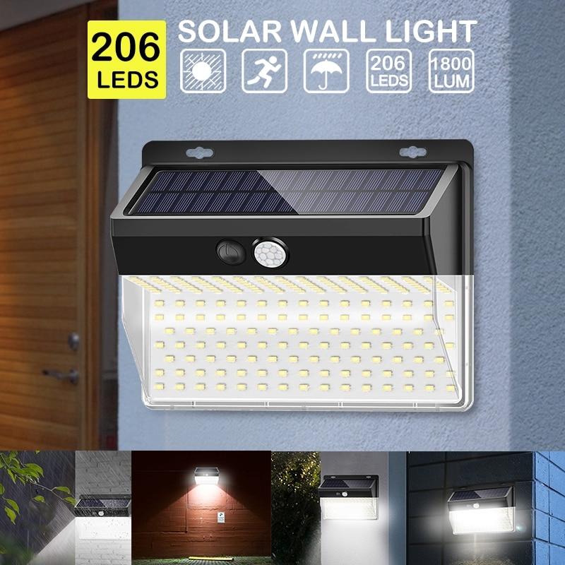 206 LED Solar Light Pir Motion Sensor Decorative Solar Wall Light Outdoor Waterproof Led Solar Lamp For Garden Street Pathway