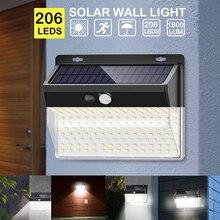 206 LED güneş işık Pir hareket sensörü dekoratif güneş duvar lambası dış mekan su geçirmez LED bahçe için güneş lambası sokak yolu