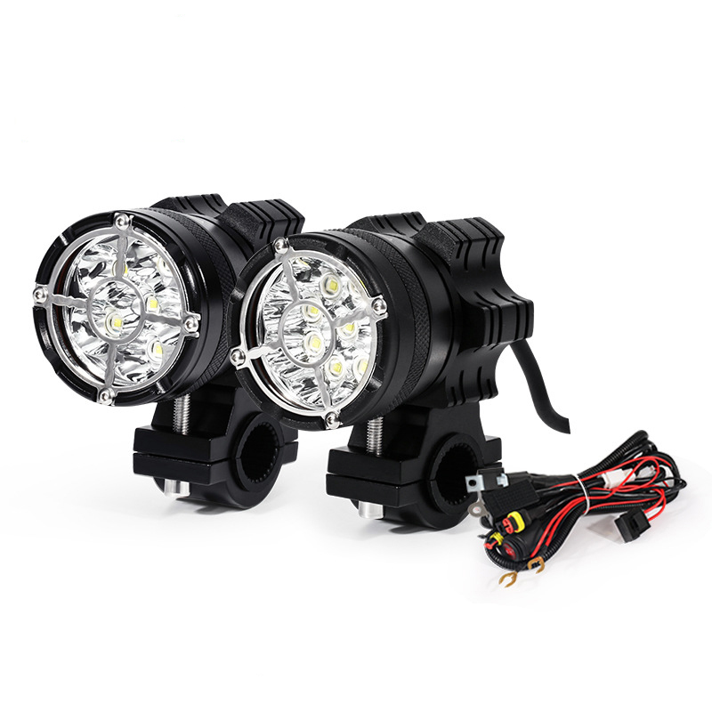Led Motorcycle Headlight All Aluminum Housing 6/9 Beads Moto Led Lamps Powerful Flash Motocross Spotlight For Motorcycle Travel