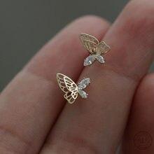 925 srebro europejskie proste asymetryczne Hollow Butterfly stadniny kolczyki kobiety inkrustowane kryształy wykwintne biżuteria ślubna