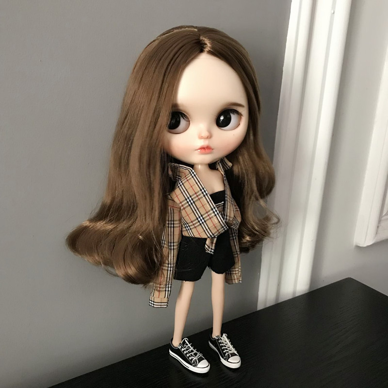 3PCS/SET Blyth Doll Clothes Fashion Dress Shirt + Tube Top + Pants Set For Ob24 Ob27 Azone Licca  Doll Outfits Doll Accessories