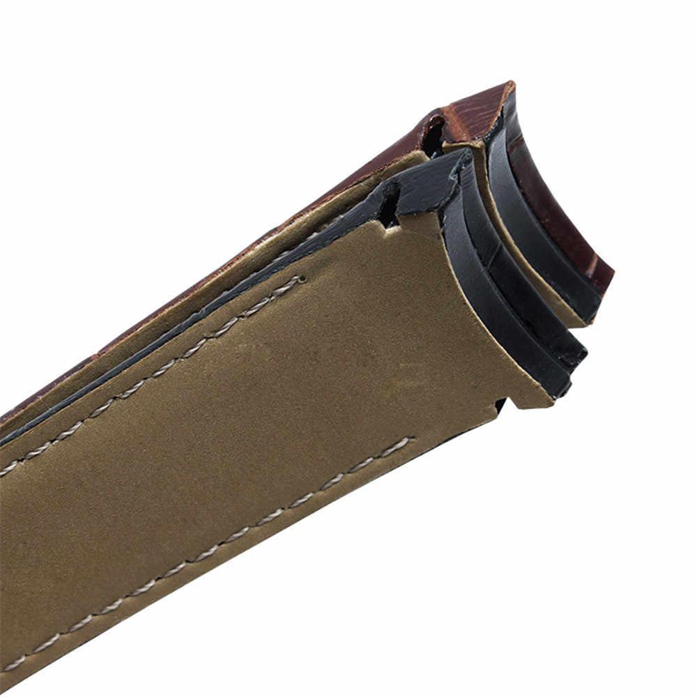 منحني نهاية جلد طبيعي مربط الساعة 22 مللي متر 23 مللي متر 24 مللي متر ل تيسو كوتورييه T035 حزام (استيك) ساعة الصلب مشبك حزام أسورة يد البني