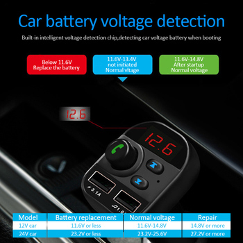 Car Bluetooth 5.1 In-Car Wireless FM Transmitter MP3 Radio Adapter Car Kit 2 USB Charger Car Electronics Accessories image