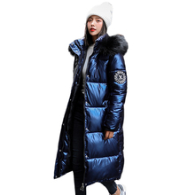women X-long oversize blue down jackets thick casual with fu