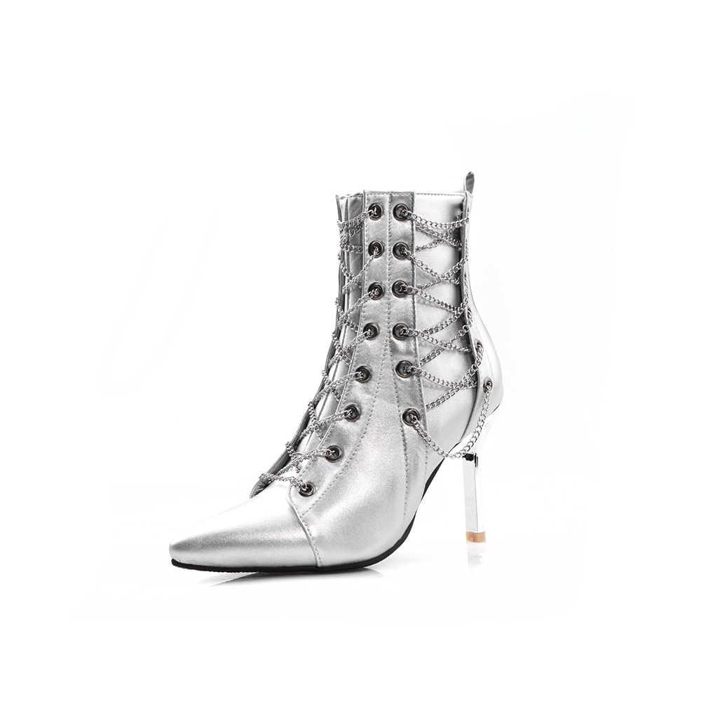 Lloprost ke Mode Frauen Stiefeletten High Heels Schwarz Silber Schuhe Frau Plattform Pumpen Lace Up Kurze Stiefel Damen Schuhe weibliche