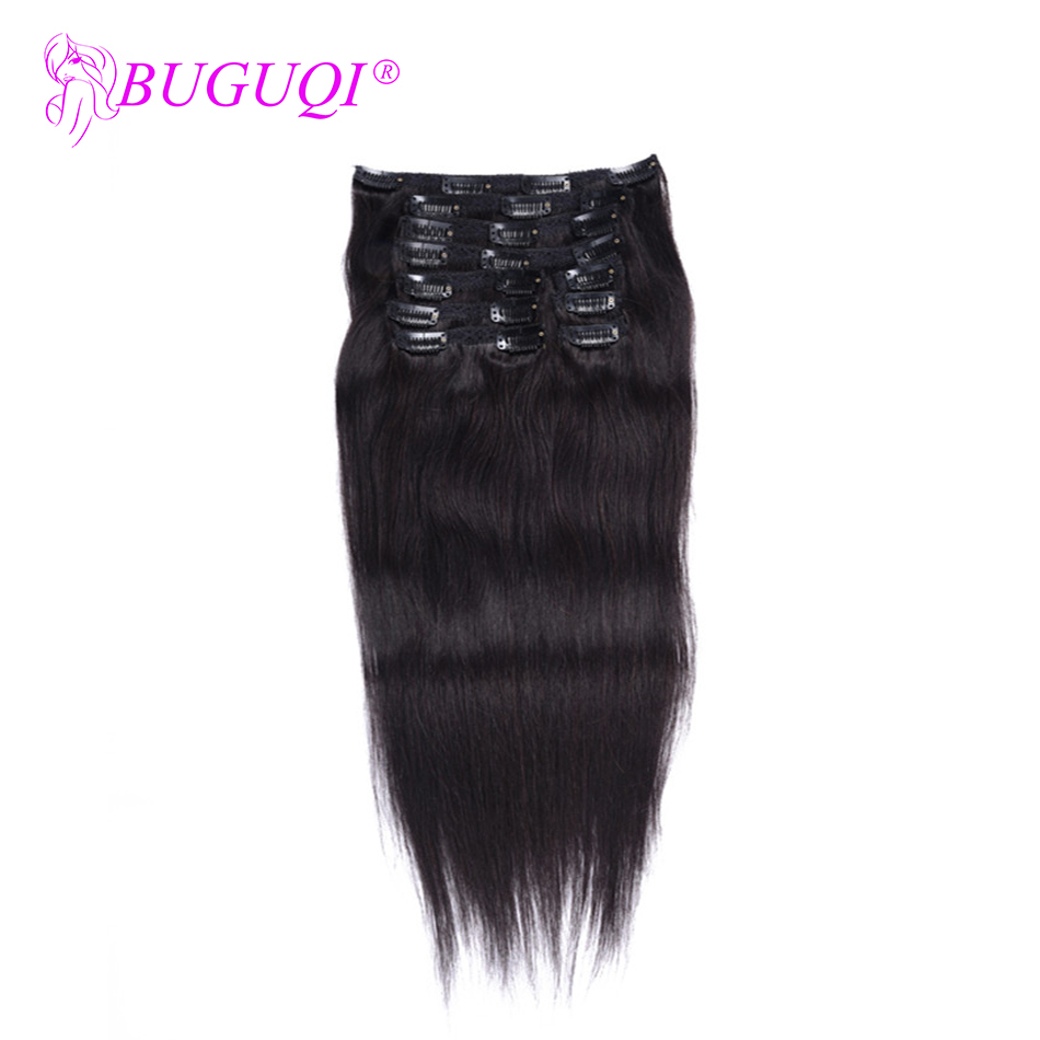 BUGUQI Hair Clip In Human Hair Extensions Brazilian Natural Color Remy 16- 26 Inch 100g Machine Made Clip Human Hair Extensions