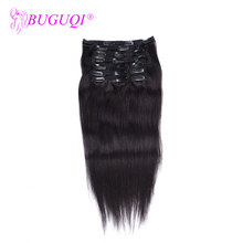 BUGUQI Hair Clip In Human Extensions Brazilian Natural Color Remy 16- 26 Inch 100g Machine Made