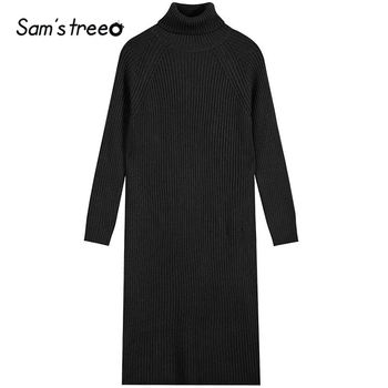 SAM'S TREE Multicolor Solid Minimalist Knit Pullover Sweater Dress Women 2020 Winter Pure Split Long Sleeve Soft Ladies Dresses 5