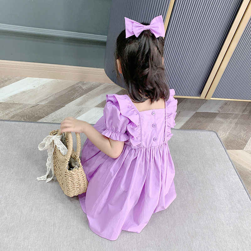 2020 Musim Panas Anak-anak Bayi Gadis Putri Gaun Katun Ungu Ruffle Kerah Persegi Puff Sleeve Anak Gaun untuk Pesta dan pernikahan