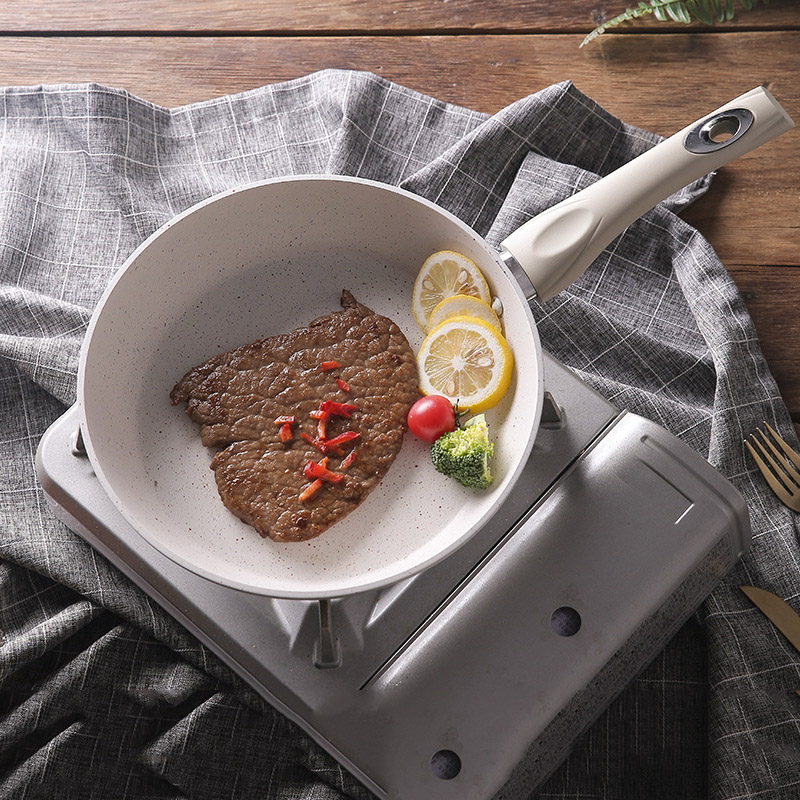 Non-Stick Frying Pan Medical Stone Coating Chef Cooking Pans With Heat Resistant Handle Use For Gas & Incuction Cooker