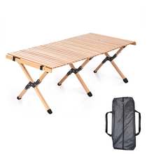 Outdoor egg roll table portable folding table camping home self-driving tour solid 120cm wood beech barbecue picnic table OME