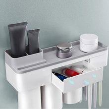 Multi-use Magnetic Adsorption Toothbrush Holder Wall Mount Bathroom Storage Rack hot sale