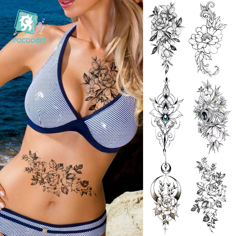 Rocooart  Black White Rose Flower Water Transfer Tattoo Stickers Women Jewelry Chest Waist Art Temporary Tattoo  Flash Tattoo