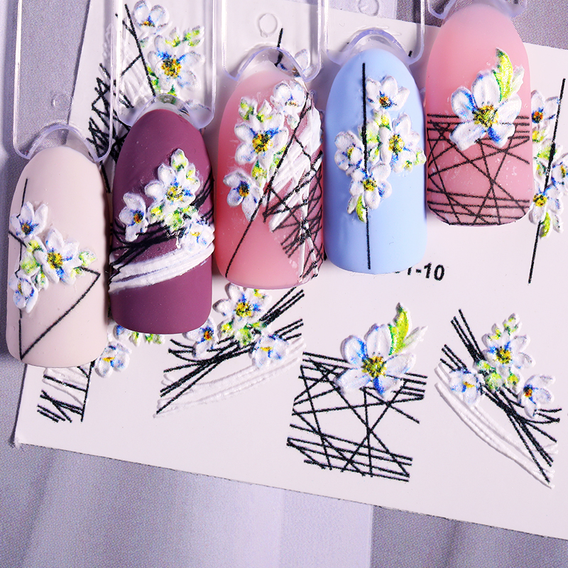 5D Natural Beauty Stickers Flower Geometric Pattern Nail Sticker Plant Design Transfer Decals Decoration Nail Art Accessories