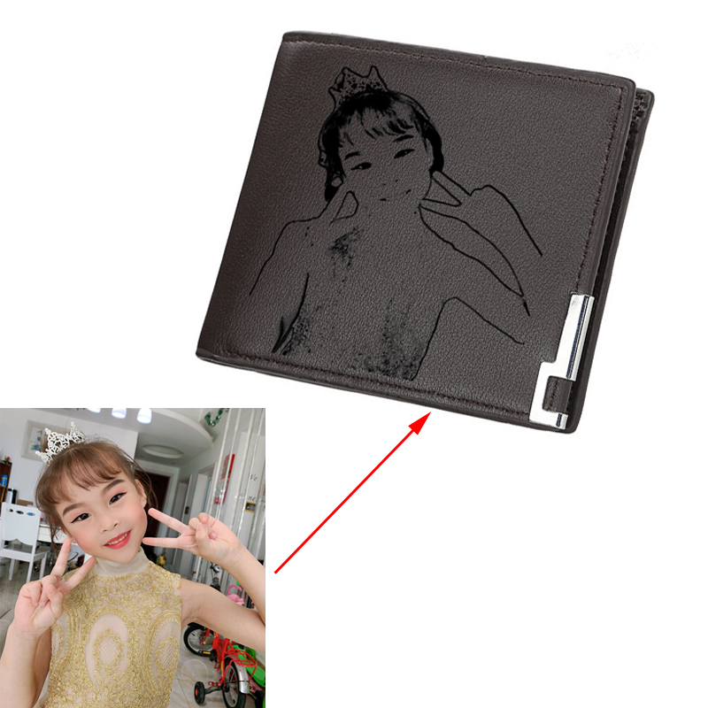 Customized Picture Wallet PU Leather Short Simple Fashion Diy Personalized Photo Picture Wallet Gift Wallet For Lovers Or Family