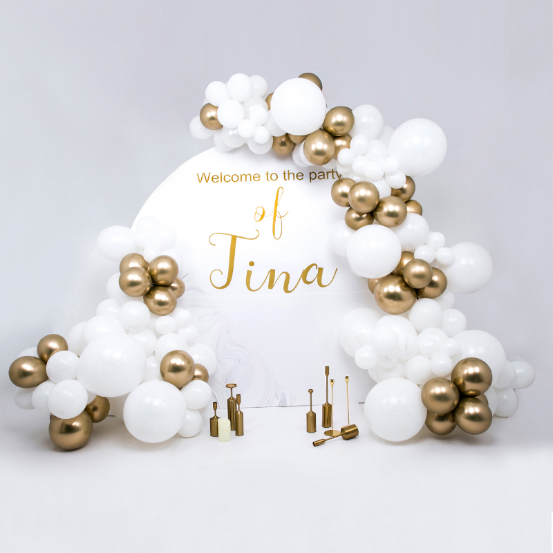 Gold White Balloon Arch Chain Wedding Party Garland Decoration Kit Balloons And Tools Birthday Party Decoration