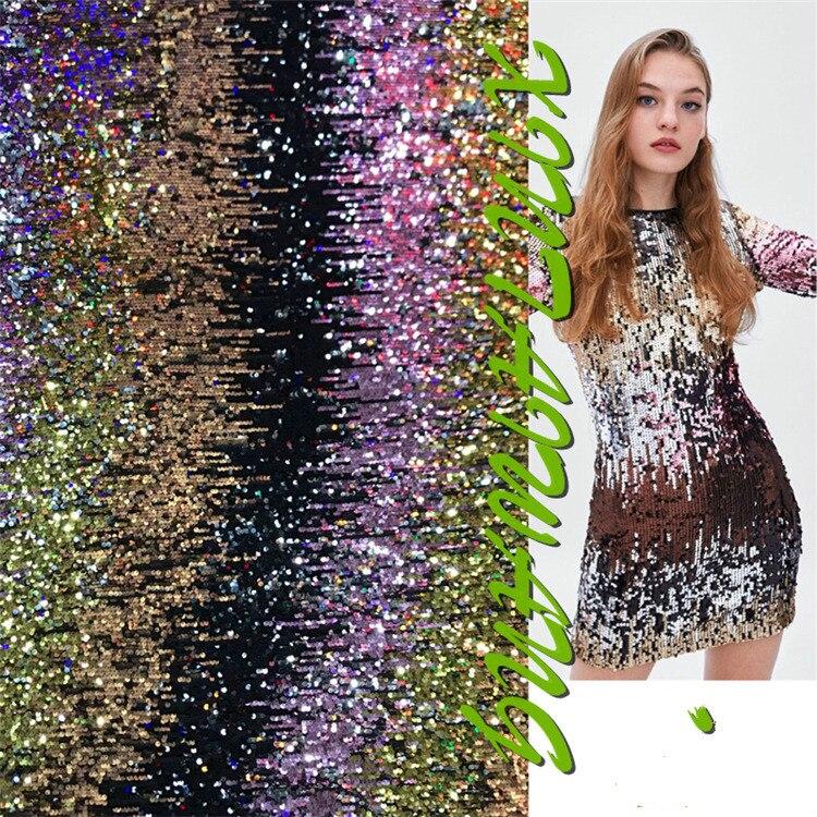 Hot nouveaux produits Tide marque 5mm multicolore sequin tissu femmes robe de soirée costumes sequin tissu usine ventes directes P