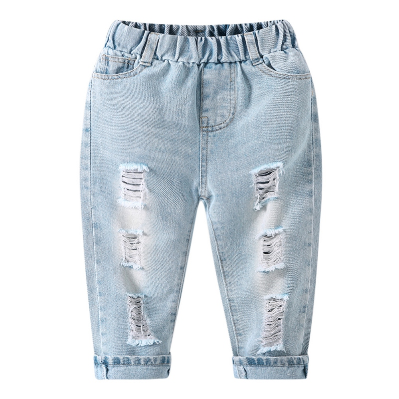 Kids Jeans Ripped Girls Boys Fashion Summer Children Broken-Hole Casual for Spring Loose title=