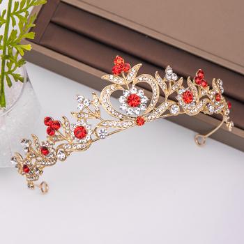 Modny złoty RedRhinestone kryształowa korona kwiat ślubne akcesoria do włosów ślubne nakrycie głowy ozdoby do włosów włosy ślubne biżuteria korona tanie i dobre opinie AiliBride Miedzi Moda Tiary Kobiety TRENDY Hairwear PLANT