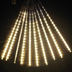 Image 5 - 8pcs/Set 30 50cm Colorful Meteor Shower Rain Tubes Warm White LED String Light for Garden Tree Wedding Party Holiday Decor