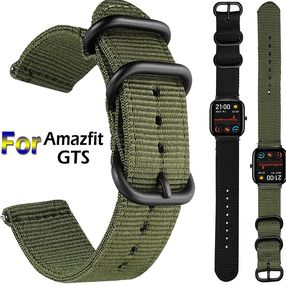 Nylon Canvas Wrist Strap For Xiaomi Huami Amazfit GTS Smart Watch Replaceable Sport Bands For Amazfit GTR 42MM 47MM Correa