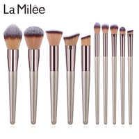 La Milee Champagne pinceles de maquillaje Set base polvo rubor sombra de ojos corrector labial brocha de maquillaje de ojos cosméticos herramientas de belleza