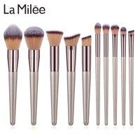 La Milee набор кистей для макияжа цвета шампанского, основа для макияжа, пудра, румяна, тени для век, консилер, Кисть для макияжа глаз, косметика, ...