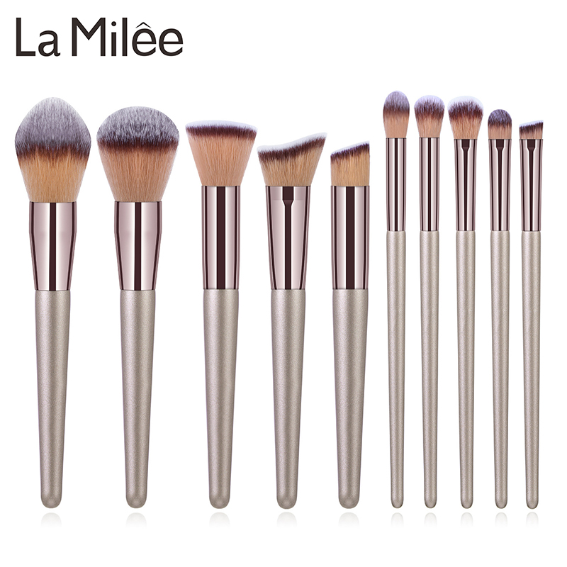 La Milee Champagne Makeup Brushes Set Foundation Powder Blush Eyeshadow Concealer Lip Eye Make Up Brush Cosmetics Beauty Tools title=