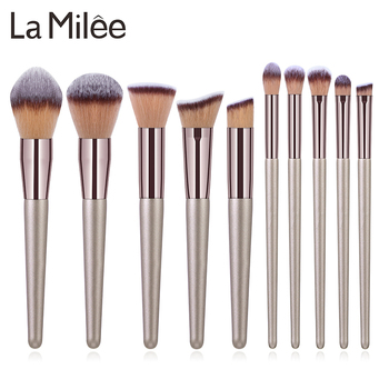 La Milee zestaw pędzli do makijażu szampana fundacja Powder Blush Eyeshadow Concealer Lip pędzel do makijażu powiek kosmetyki przybory kosmetyczne tanie i dobre opinie NYLON 10pcs Makeup Brushes Set Zestawy i zestawy Drewna Champagne Gold