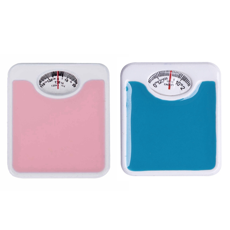 2 Pcs 1:12 Scale Miniature Weigh Scale Dolls House Accessories, Pink & Blue