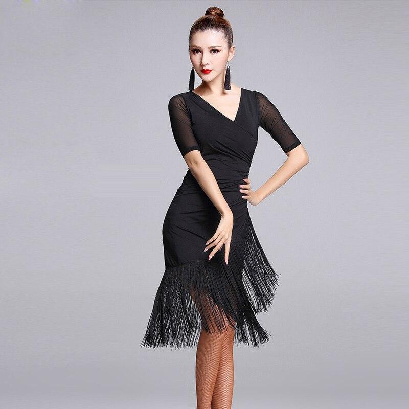 2020 Ladies Latin Dance Dress Women Black Stage Costumes Tassel Salsa V-Neck Rumba/Samba Salsa Perform Fitness Dancewear