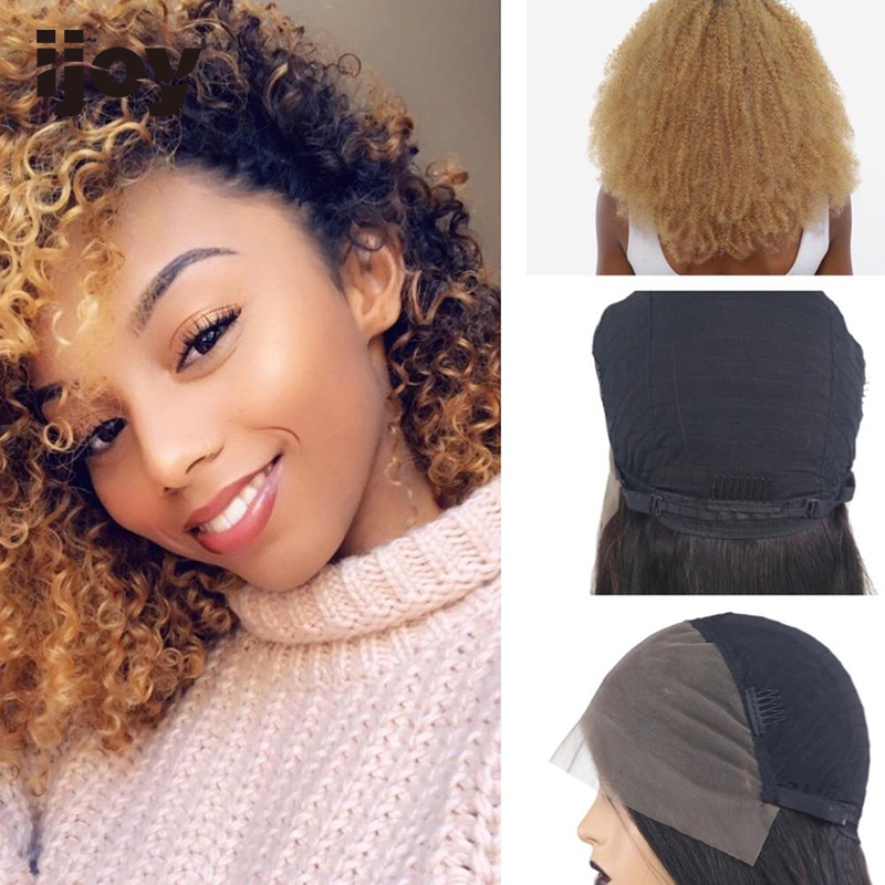 Kinky Curly Wig 4x13 Lace Front Ombre 27 Honey Blonde Colored Wig 12
