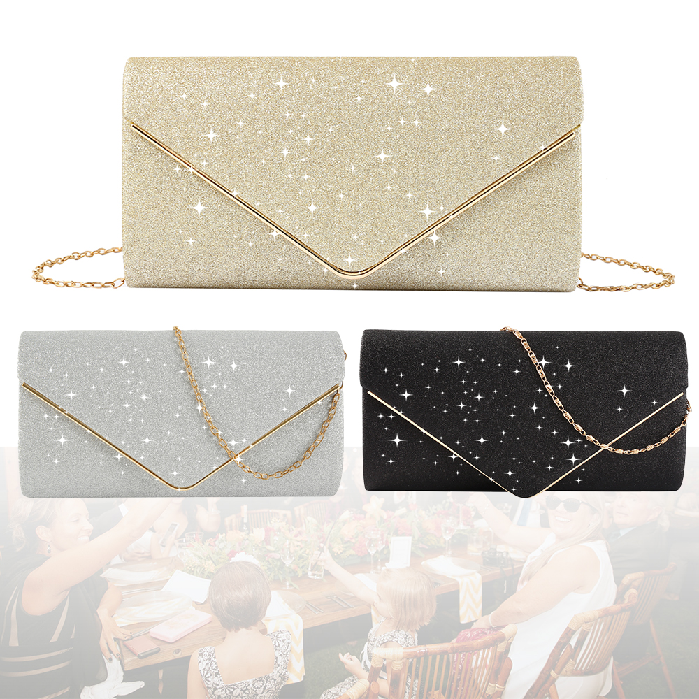 HOT Luxury Shiny Women Purse Envelope Clutch Fashion Glitter Ladies Wedding Bags Handbags Bolsas Vintage Evening Bags For Women
