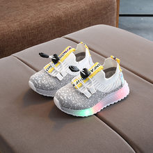 2020 Season Baby Led Light Study Walking Kids Boys Girls Shoes Colorful Sneakers Children One Pedal Single Shoe(China)