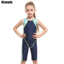 Riseado Patchwork Sport One Piece Swimsuit 2019 Boyleg Girls Swimwear Racer Back Children Bathing Suit New Swimming 8-12 Years