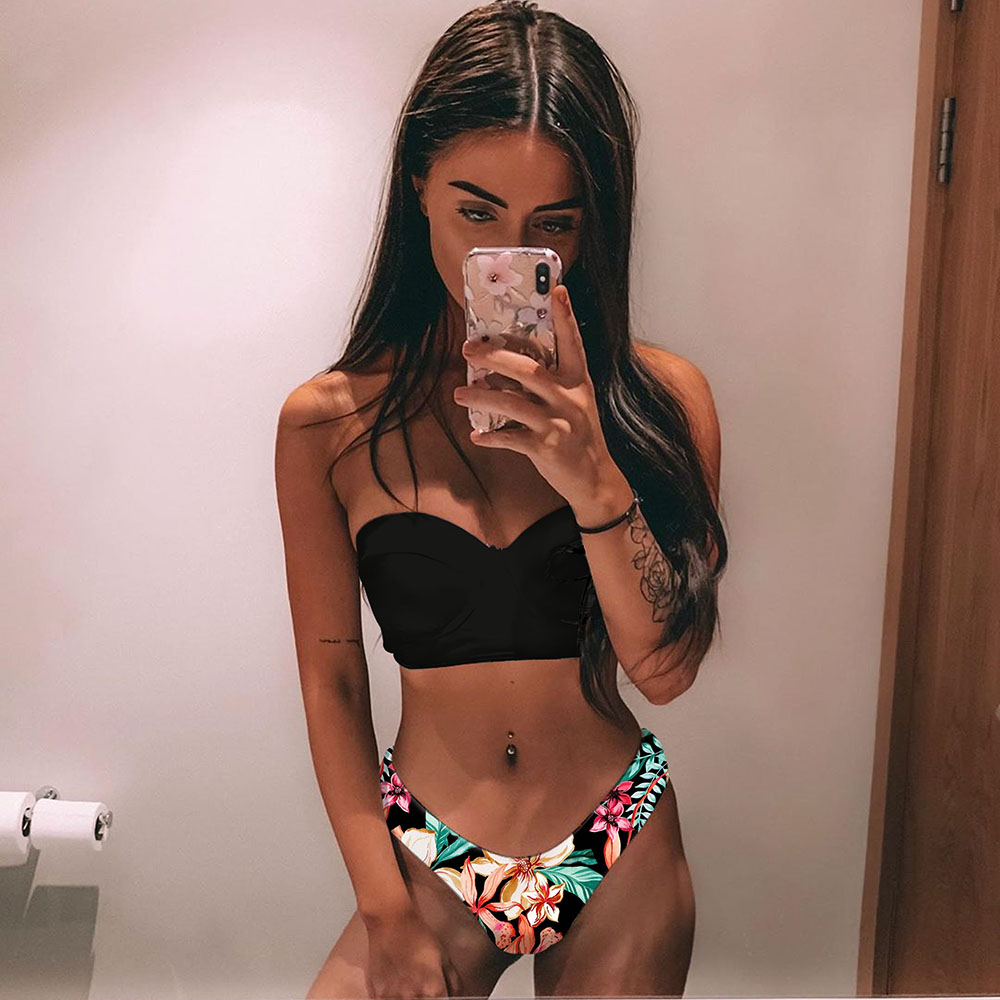 High Waist Bikini 2020 Plus Size Swimwear Women Push Up Sexy Swimsuit Print Bikinis Plus Size Bahitng Suit Bandeau Beach Wear
