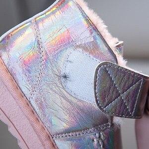 Image 5 - Kinder Schnee Stiefel 2020 Koreanischen Winter Mädchen Fühlte Warme Prinzessin Laser Leder Plüsch Bogen Stiefel Lächeln Wasserdichte Schuhe Mädchen Footware