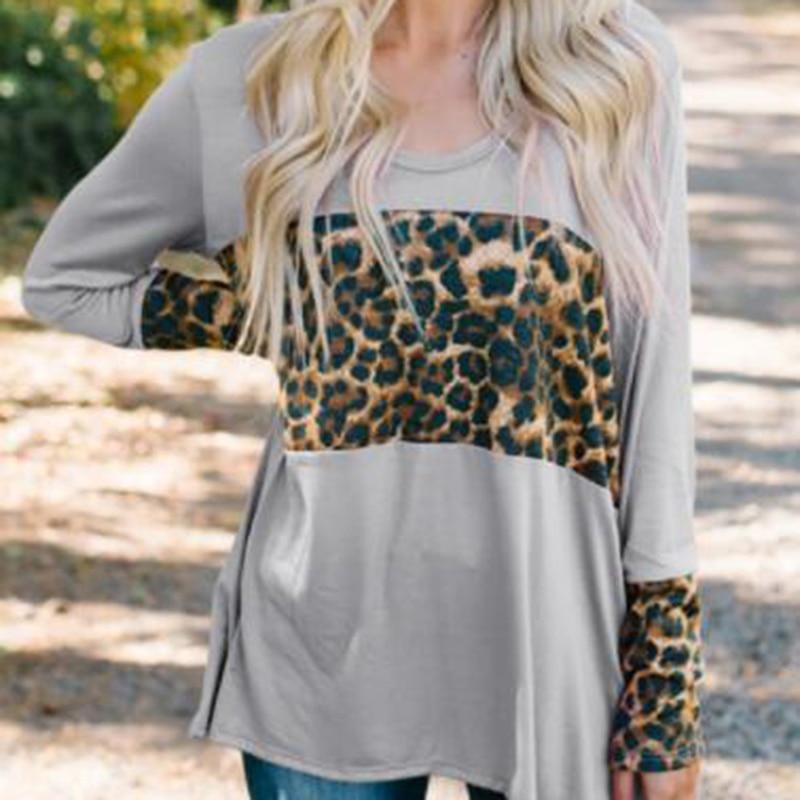 Женская модная футболка, женские повседневные топы с длинным рукавом и круглым вырезом, Женские топы с леопардовым принтом, футболка Camiseta
