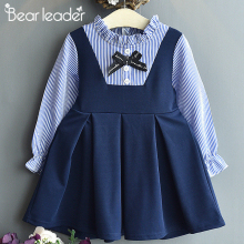 Bear Leader Girls Dresses Autumn New Baby Girl Dress Striped with Bow Long Sleeves Princess for Kids Clothes Vestidos
