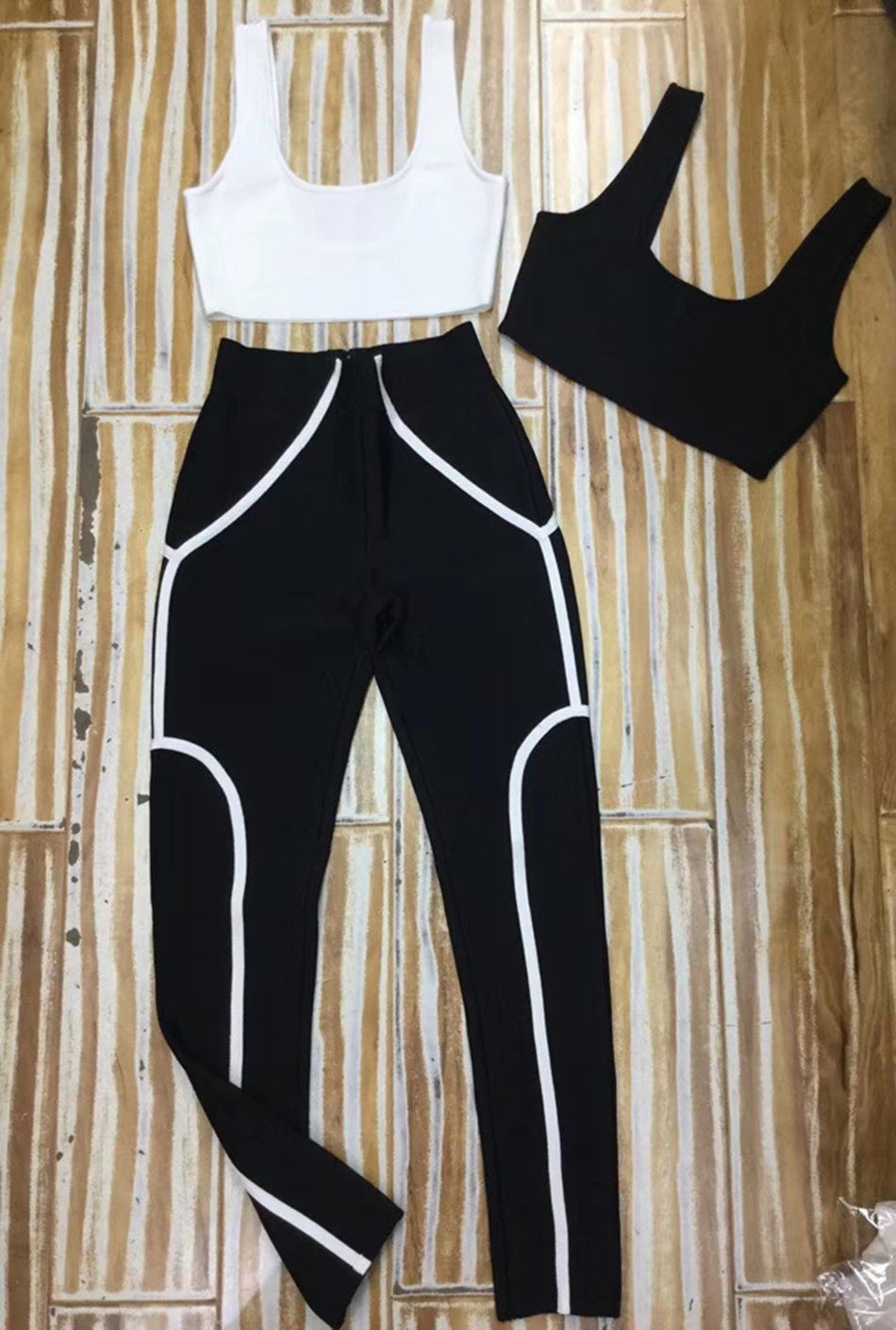 Spring 2020 New Women's Casual Set 2 Two-Piece Sexy Black White Top Short Tank Bodycon Rayon Bandage Trousers Set