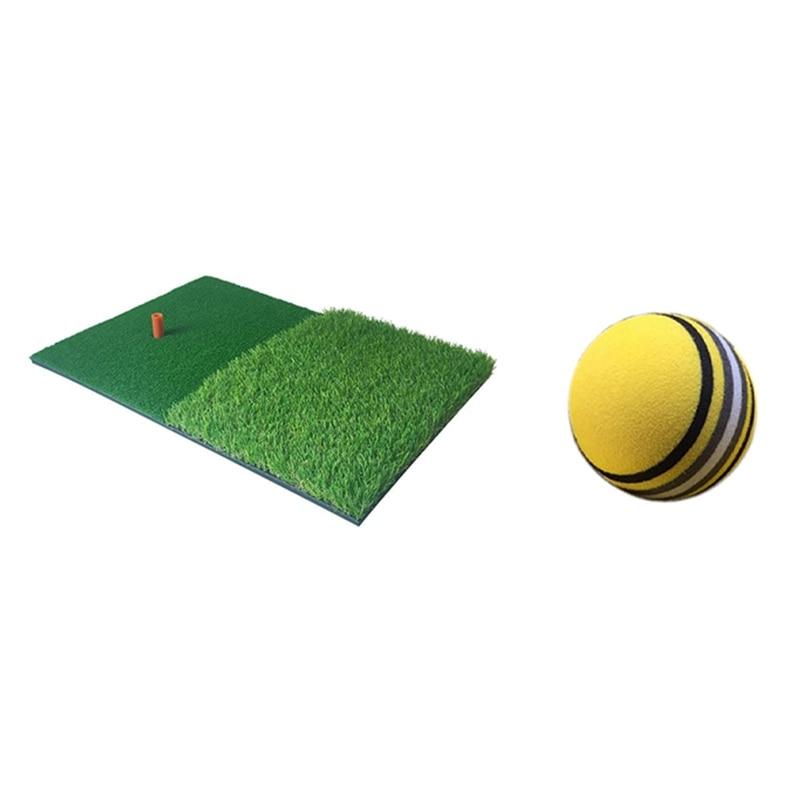 1 Set Golf Practice Mat Rubber Tee Backyard Outdoor Golf Hitting Mat & 50 Pcs Eva Foam Golf Practice Ball