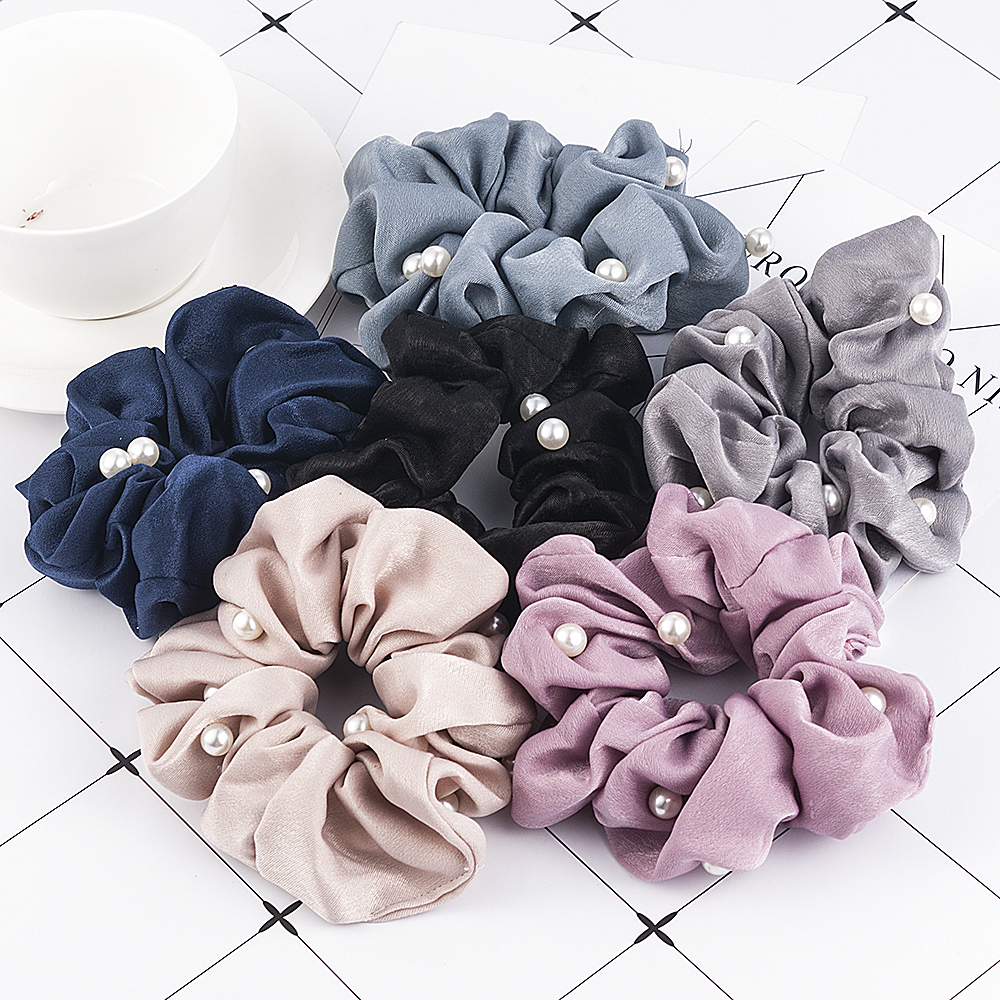 New Women Pearl Hair Scrunchies Ponytail Holder Soft Stretchy Hair Ties Vintage Elastics Hair Bands For Girls Accessories
